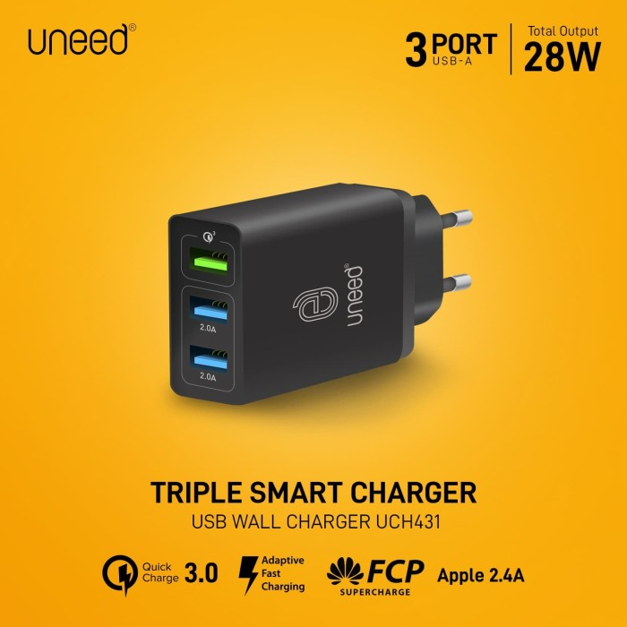 Foto Produk UNEED QuickPlug Smart Charger 3Port Quick Charge 3.0 Max 28w- UCH431 dari Uneed Indonesia