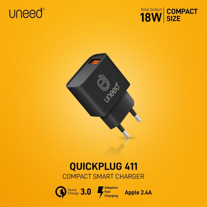 Foto Produk UNEED QuickPlug Wall Charger Quick Charge 3.0 Max 18watt – UCH411 dari Uneed Indonesia