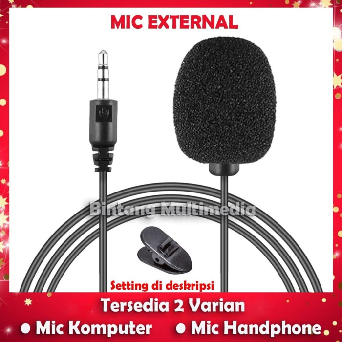 Foto Produk Mic External HP Laptop Handphone Komputer 3.5mm Microphone with Clip dari BINTANG MULTIMEDIA