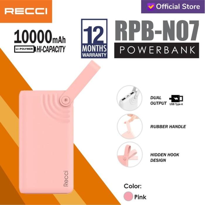 Foto Produk RECCI Powerbank Hook Design Dual USB RPB-N07 10000Mah Putih/Pink - Merah Muda dari Recci Official Shop ID