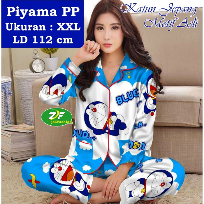 Foto Produk Piyama PP XXL - Katun Jepang / Baju Tidur Murah - Karakter Doraemon 01 - Biru, XXL dari joZFashion