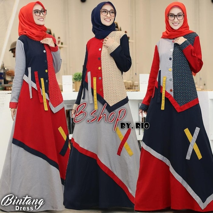 Foto Produk Gamis Bintang dress flanel garment mix(adem.tebal)allsize m.L.xL dari Winnie Collection
