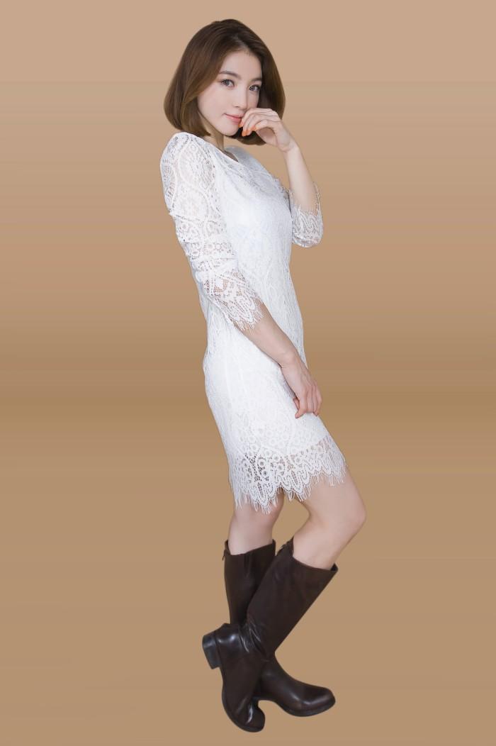 Foto Produk Kakuu Basic - Long Sleeve Lace Midi Dress dari Kakuu Basic