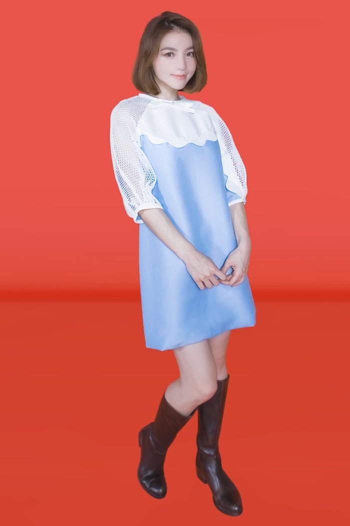 Foto Produk Kakuu Basic - Mesh Detail Mini Dress dari Kakuu Basic