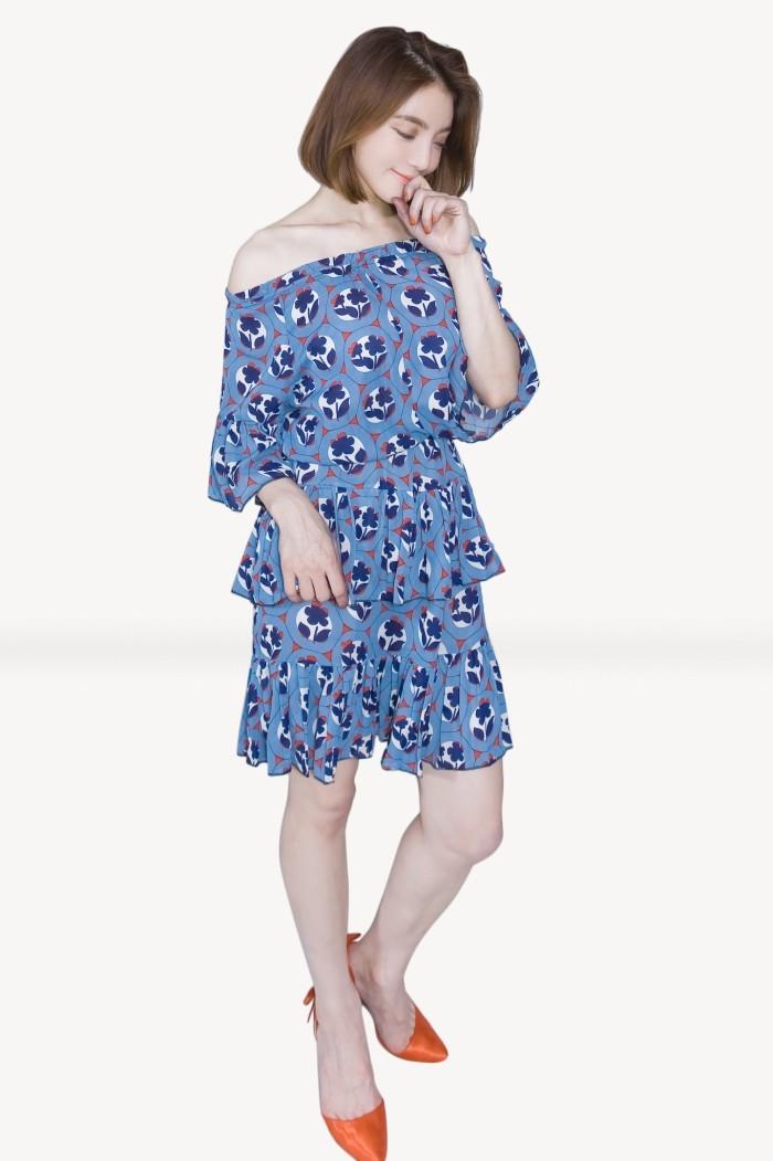Foto Produk Kakuu Basic - Shoulder Off Floral Dress dari Kakuu Basic