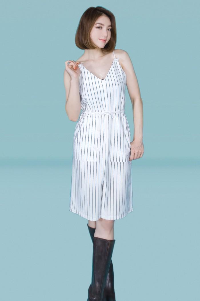 Foto Produk Kakuu Basic - Sleeveless Stripe Jumpsuit dari Kakuu Basic