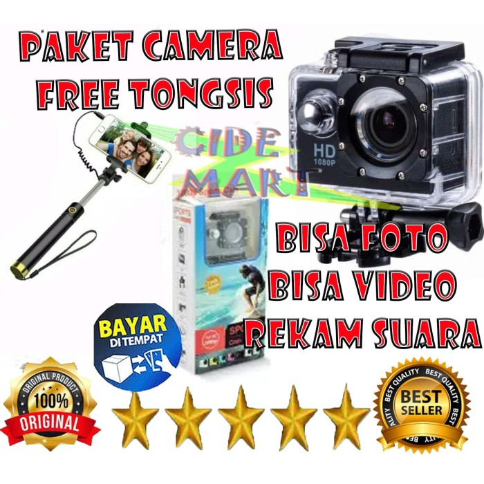 Foto Produk [PAKET CAMERA] KAMERA ACTION ULTRA HD 1080P WATERPROOF BONUS TONGSIS - CAMERA SAJA dari Duocide Shop
