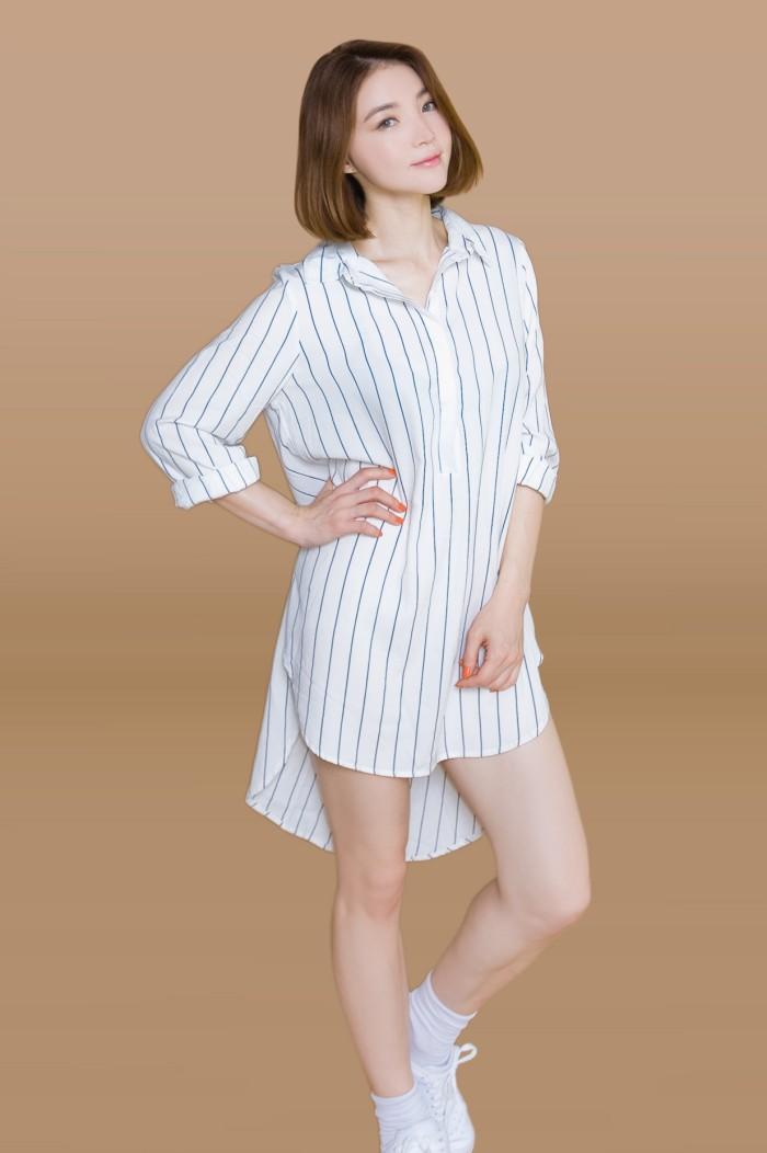 Foto Produk Kakuu Basic - Unbalance Stripe Shirt Dress dari Kakuu Basic