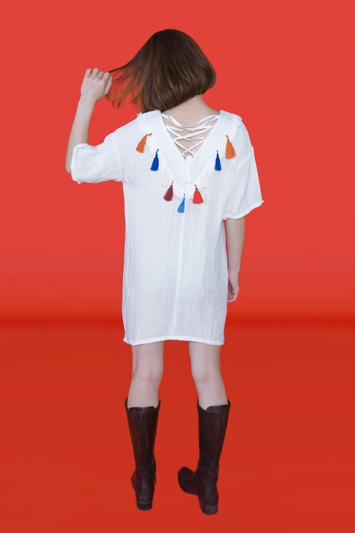 Foto Produk Kakuu Basic - Lace Up Tassel Dress dari Kakuu Basic