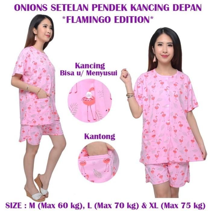 Foto Produk Onions Setelan Pendek Kancing Tengah - FLAMINGO XL dari Kazel Babywear