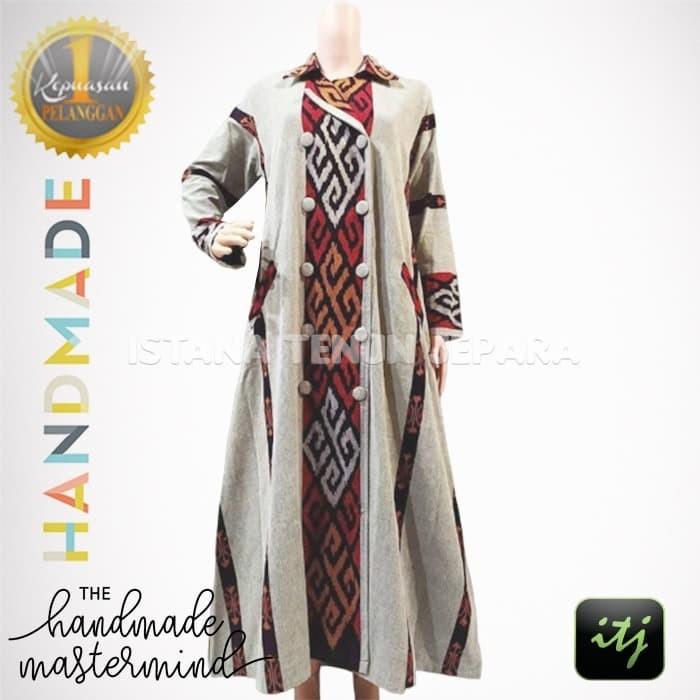 Jual Gamis Batik Wanita Muslimah Tenun Ikat Troso Handmade Kombinasi Cantik Kab Jepara Istana Tenun Jepara Tokopedia