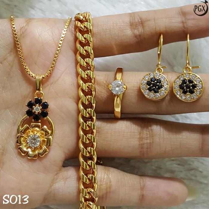 Set Perhiasan Xuping Lapis Emas | Anting Cincin Gelang ...