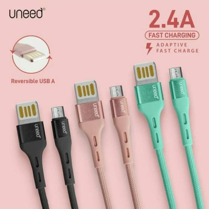 Foto Produk UNEED - Reversible Kabel Data Micro USB, Type C, Max 2.4A - UCB42 - Merah Muda, UCB42M dari O-Store Indonesia
