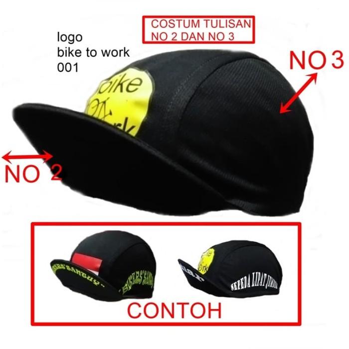 Foto Produk pembikinan costum ganti nama cyclingcap topi sepeda costum satuan suka dari pesepeda