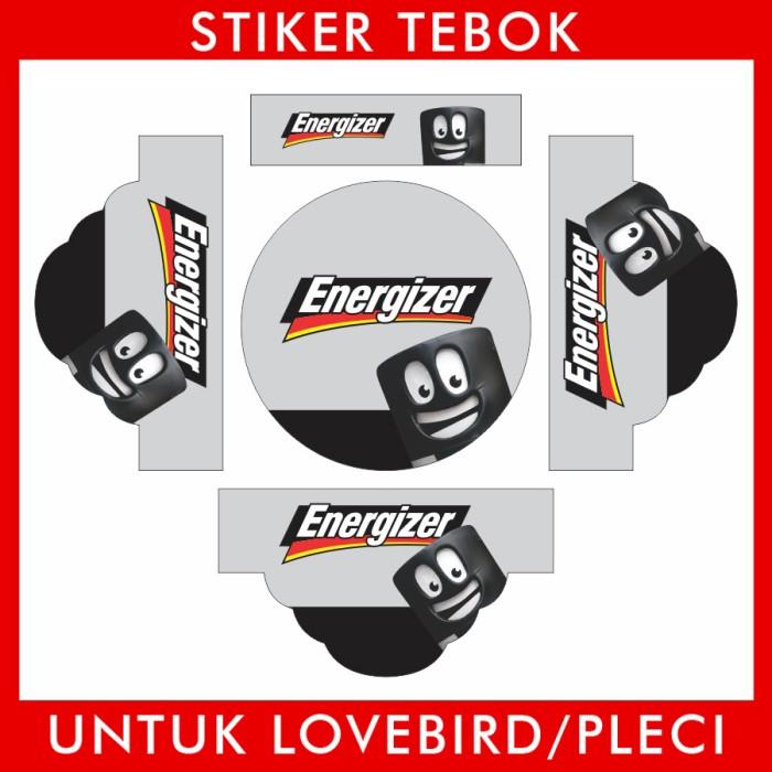 Foto Produk Stiker Tebok Lovebird Energizer pleci Ebod Sazime PVC dari Supplier Kaos Custom