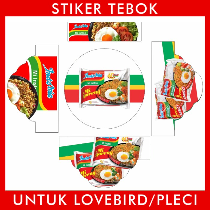 Foto Produk Stiker Tebok Lovebird Indomie Goreng pleci Ebod Sazime PVC dari Supplier Kaos Custom