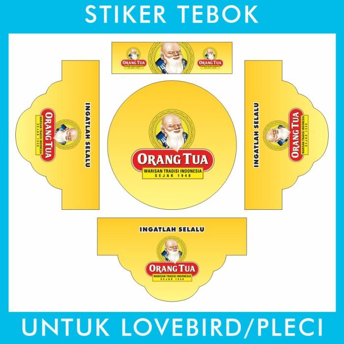 Foto Produk Stiker Tebok Lovebird Orang Tua Kuning Bandit pleci Ebod Sazime PVC dari Supplier Kaos Custom