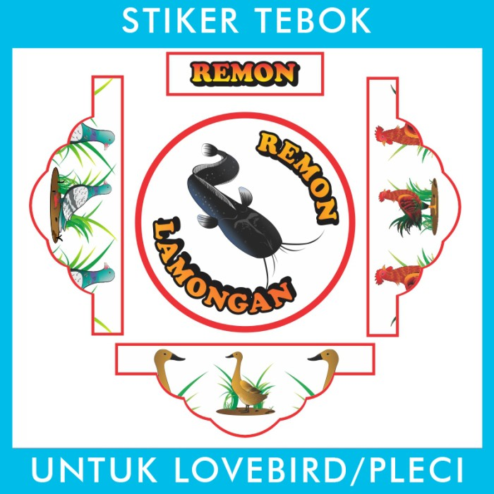 Foto Produk Stiker Tebok Lovebird Pecel Lele pleci Ebod Sazime PVC dari Supplier Kaos Custom