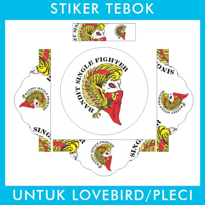 Foto Produk Stiker Tebok Lovebird Single Fighter Bandit pleci Ebod Sazime PVC dari Supplier Kaos Custom
