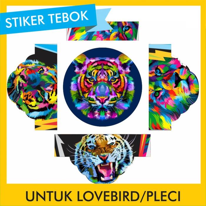 Foto Produk Stiker Tebok Lovebird Macan pleci Ebod Sazime PVC dari Supplier Kaos Custom