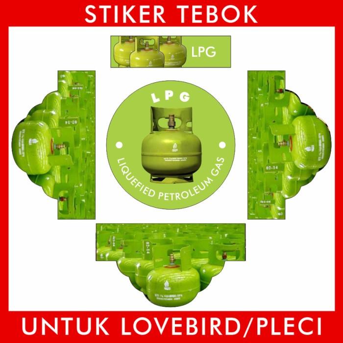 Foto Produk Stiker Tebok Lovebird LPG 3KG pleci Ebod Sazime PVC dari Supplier Kaos Custom