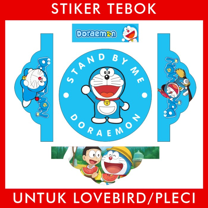 Foto Produk Stiker Tebok Lovebird Doraemon pleci Ebod Sazime PVC dari Supplier Kaos Custom