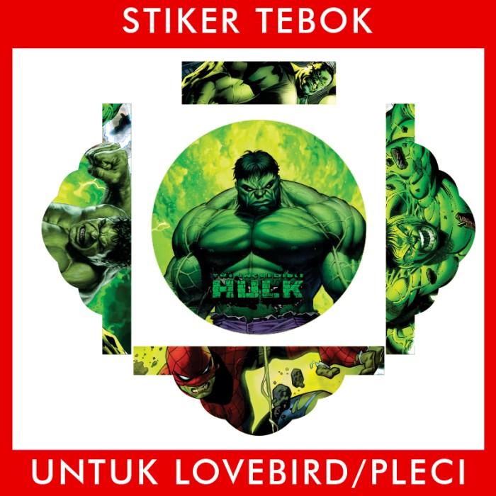 Foto Produk Stiker Tebok Lovebird Hulk Avengers pleci Ebod Sazime PVC dari Supplier Kaos Custom