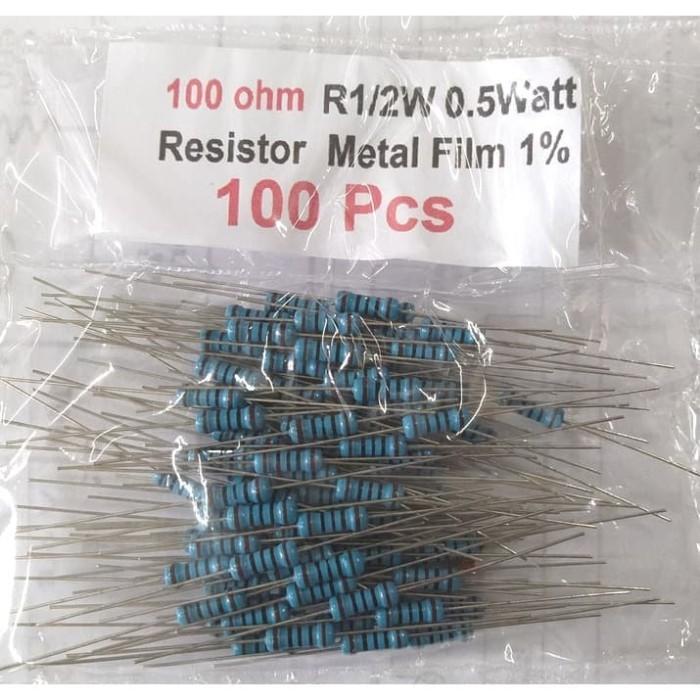 Foto Produk QTY 100 Pcs Resistor 100 ohm 100R 100ohm R1/2W 0.5Watt Metal Film 1% dari mbish elektronik