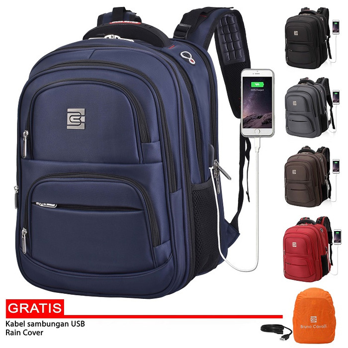 "Foto Produk Bruno Cavalli Expandable Multi Pocket Backpack Fit Laptop 17"" 14040 - Biru dari Bruno Cavalli Official"
