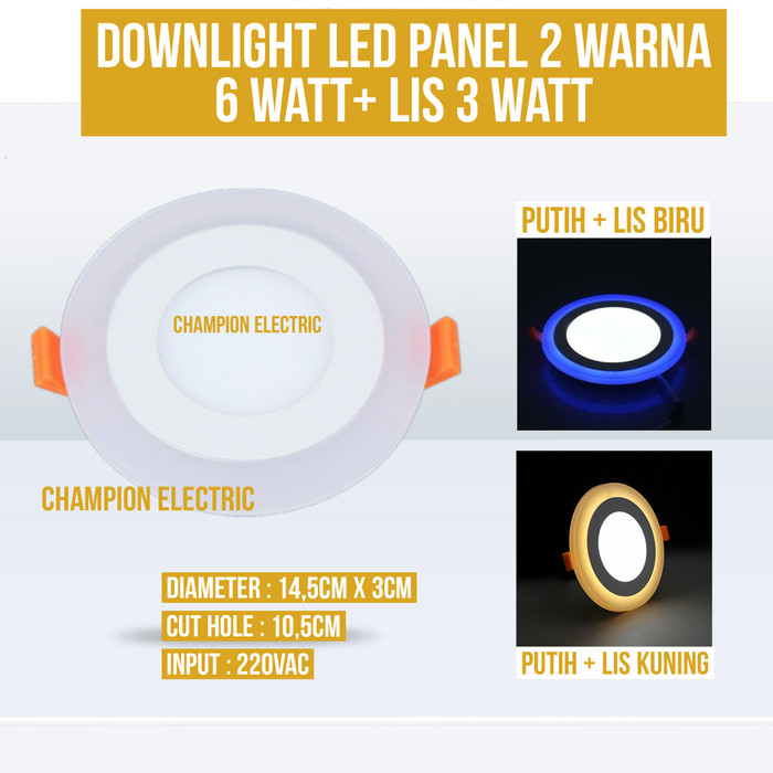 Foto Produk Lampu Downlight LED 2 Warna 6W Putih 3 Watt List Biru dari Champion Electric