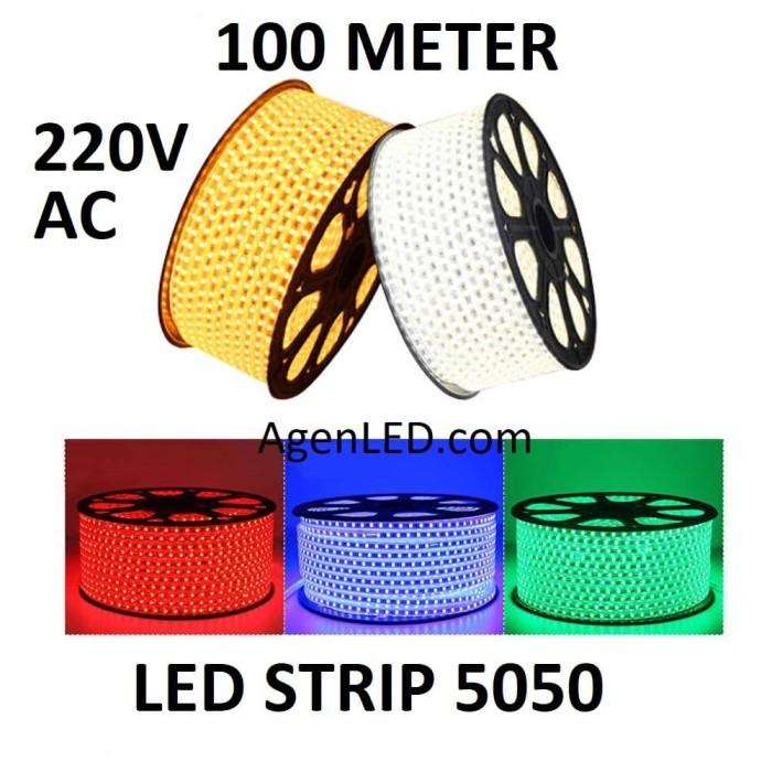 Foto Produk Lampu LED STRIP SELANG SMD 5050 100M 220v AC OUTDOOR KOTAK 100 M METER - WARM WHITE dari AgenLED