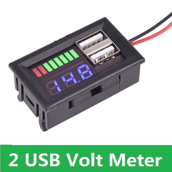 Foto Produk Display Volt Meter Indikator Level Baterai Aki Accu Handphone 2 USB dari Rumix