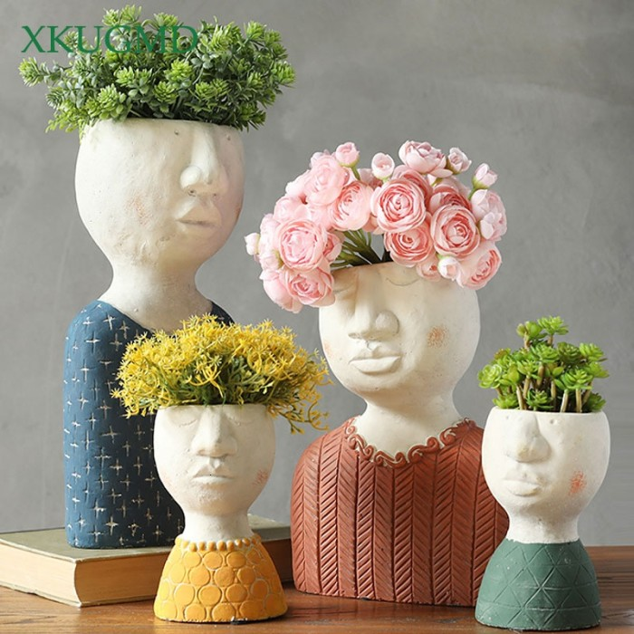 Jual Succulents Flower Pot Character Sculpture Crafts Home Decoration Jakarta Barat Promo Batik Tokopedia
