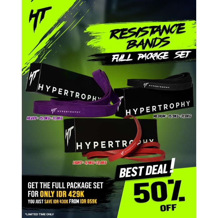 Foto Produk Paket Hemat Fitness Resistance / Power Band - Red, Black, Purple dari Hypertrophy