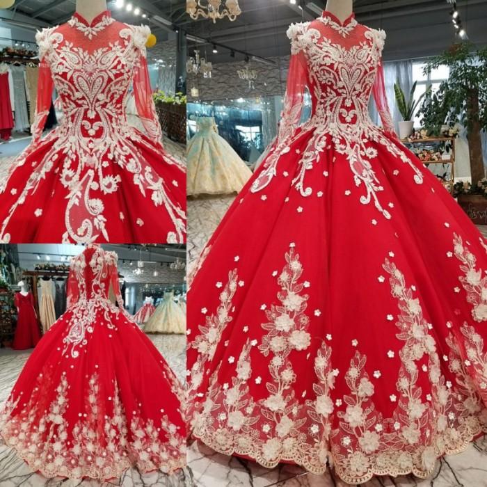 Jual Elegant Red Stand Collar Long Sleeve Big Ball Gown Dress Wedding Jakarta Barat Mataharimaju Tokopedia