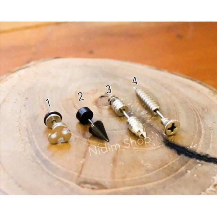 Foto Produk Anting Piercing Pria / Wanita Titanium Unik Sekrup dari Nidim Shop