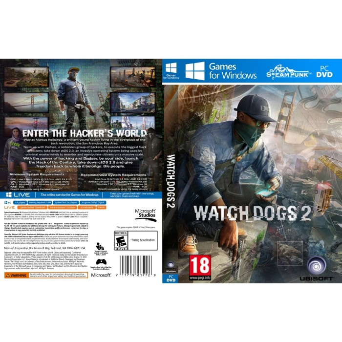Foto Produk Watch Dogs 2 Inc. All Updates and DLCs PC Laptop dari SteamPunk