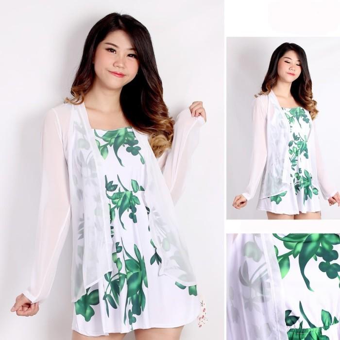 Foto Produk Dress Gratis Outer Cardigan All Size LD 92 Chiffon Set Vianna dari Adelle Fashion Jumbo
