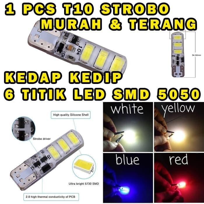 Foto Produk LED T10 CRYSTAL JELLY 6 MATA STROBO / KEDIP LED 5730 LAMPU SENJA SEN - Putih dari variasimobilku