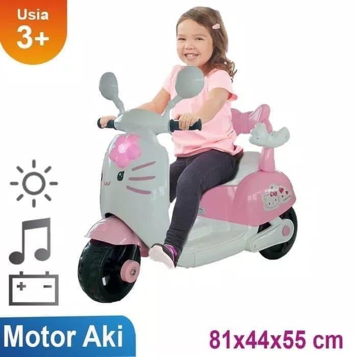 Foto Produk Mainan Motor Aki Anak HLW 2288 Vespa Hello Kitty dari BRECHT.ID