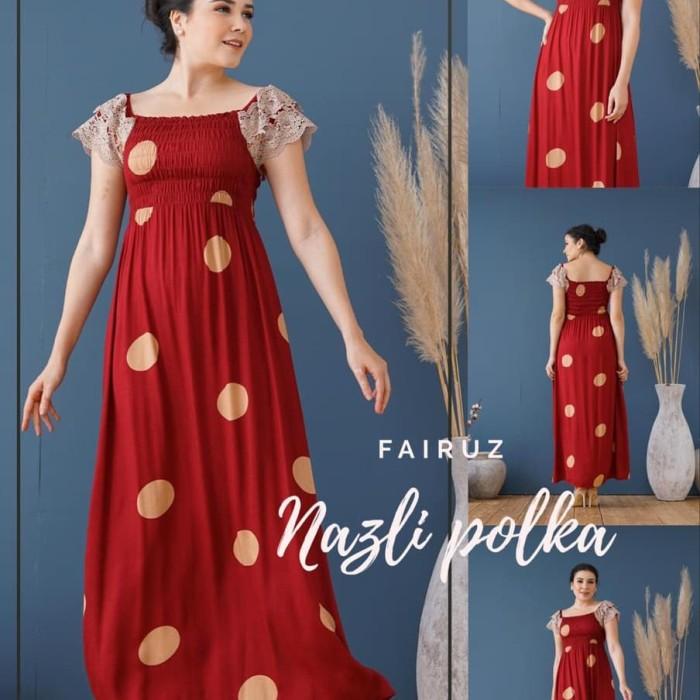 Foto Produk daster arab/india/dubai/turki fairuz nazli polka dress busui renda dari murmershops & fashion