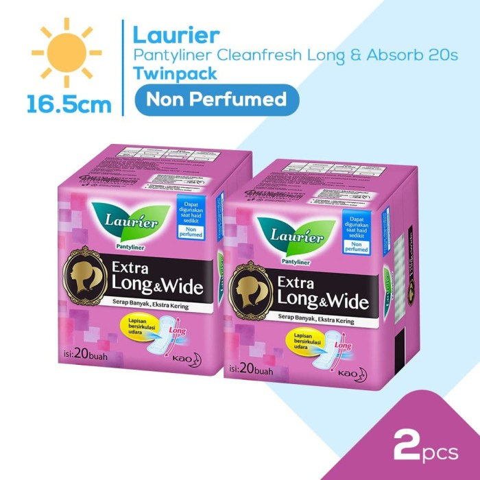 Foto Produk Laurier Pantyliner Cleanfresh Long&Absorb 20S Non Perfume Twinpack dari KAO Official Store