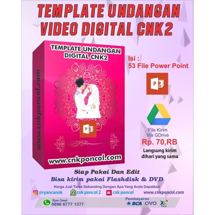 Jual Template Undangan Digital Video Powerpoint Cnk2 Wedding Invitation Kota Depok Cnk Poncol 2 Tokopedia