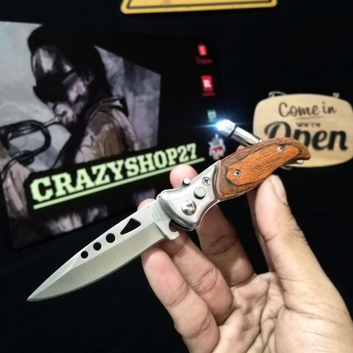Foto Produk Pisau Saku Mini Lipat Pocket Plus Senter / Survival kit dari crazyshop27