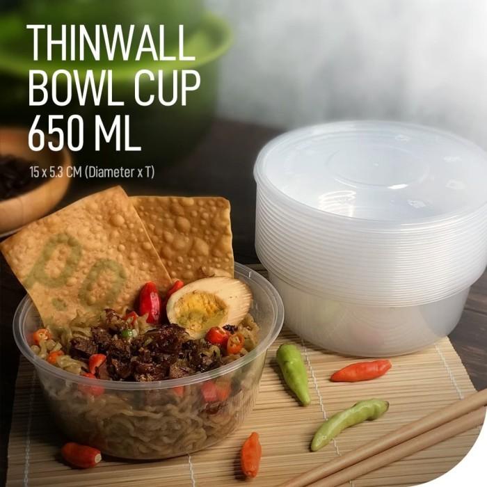Foto Produk Thinwall Bowl 650ml / Mangkok Plastik Bulat 650 ml 25pcs + tutup dari Panda Pack