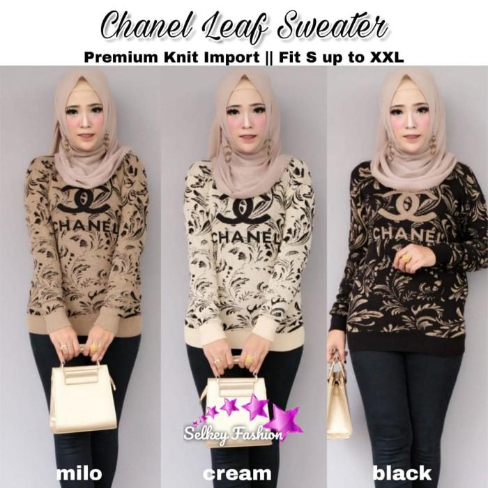 Foto Produk Baju Atasan Wanita Blouse Muslim Chanel Leaf Sweter dari myfashion