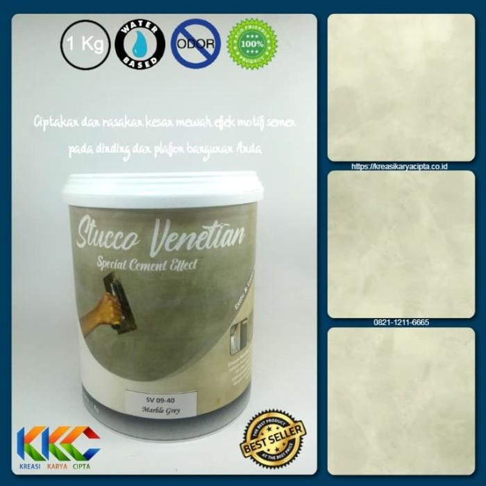 Foto Produk Cat Stucco Venetian Motif Semen SV 09-40 - Marble Grey - kemasan 1Kg dari kkc olshop