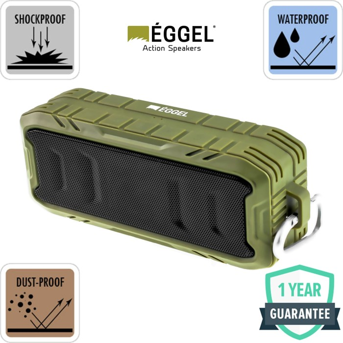 Foto Produk Eggel Terra 2 Waterproof Portable Bluetooth Speaker - Army Green - Hijau dari EGGEL Official Store