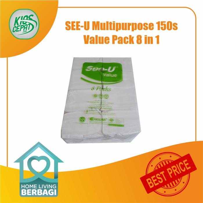 Foto Produk Tissue SEE-U Multipurpose 150s Value Pack 8 in 1 dari KiosCepat