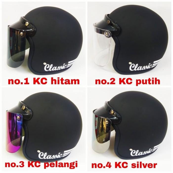 Foto Produk helm bogo retro classic full cat warna hitam doff kaca datar - 4.datar silver dari Biana helm